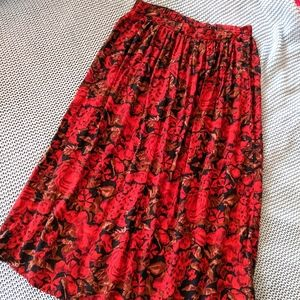 Vintage red roses maxi skirt